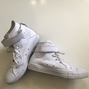 White leather high top Converse- size 7